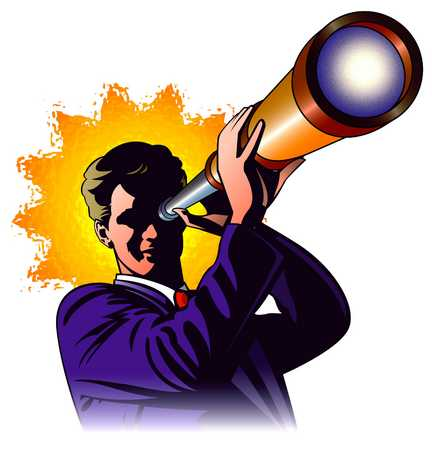 Man With Telescope With Sun Behind Him