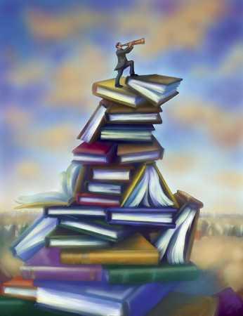 Man on book pile