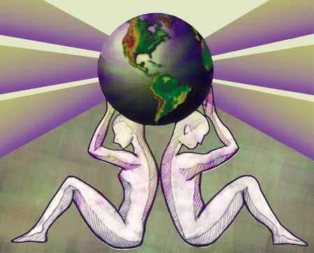 Man And Woman Holding Globe