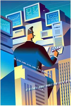 Businessman viewing information
