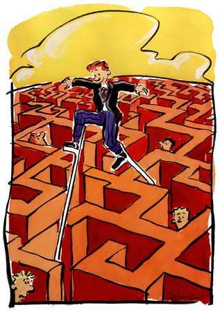Figure Walking On Stilts In Maze