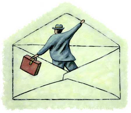 Man emerging from envelope