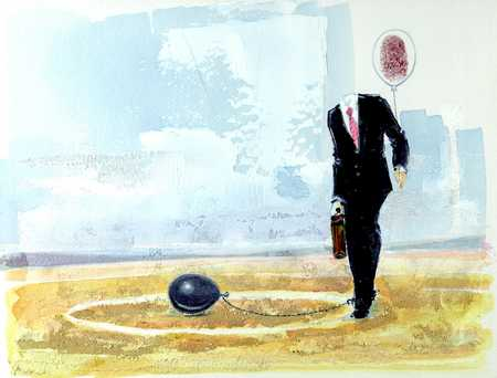 Businessman With Ball-And-Chain
