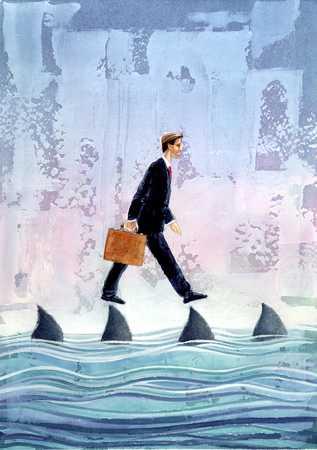 Businessman Walking On Shark Fins