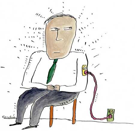 Businessman Plugged In Socket