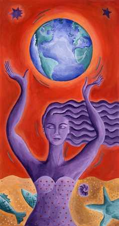 Purple Woman With Globe