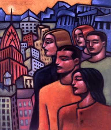 Figures Looking Toward City