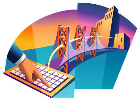 Hand, keyboard and bridge