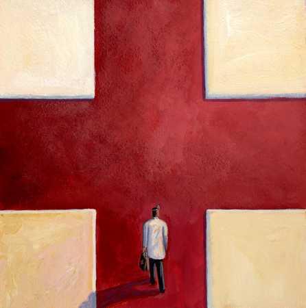 Doctor Walking On Red Cross