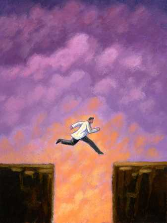 Doctor Jumping Over Chasm