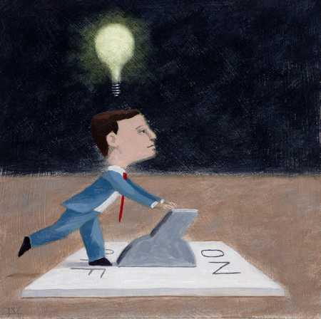 Figure Turning On Idea Light Bulb