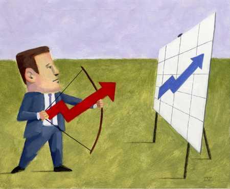 Figure Aiming Profit Arrow