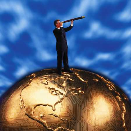 Businessman with spyglass on golden world