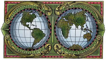 Two Globes Inside A Border