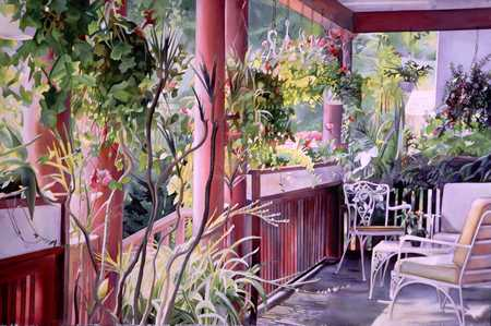 Summer Porch With Flowers And Chairs