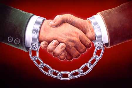 Chained Hands Shaking/Lasting Deal