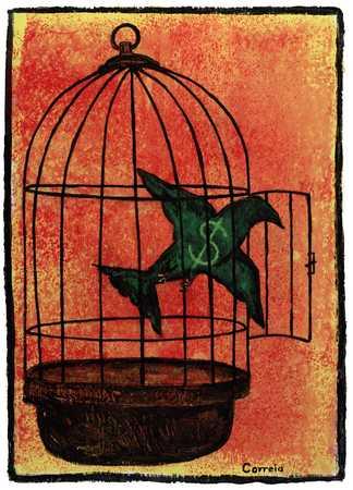 Money Bird Flying From Cage