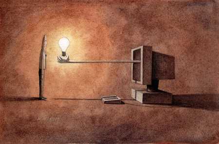 Light Bulb And Computer