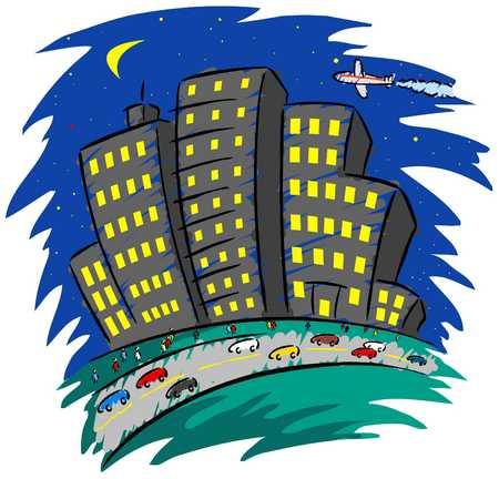 Nighttime city scene
