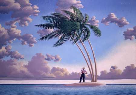 Businessman On Island