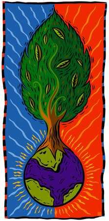 Tree growing from globe