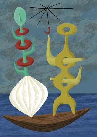 Abstract figures in boat