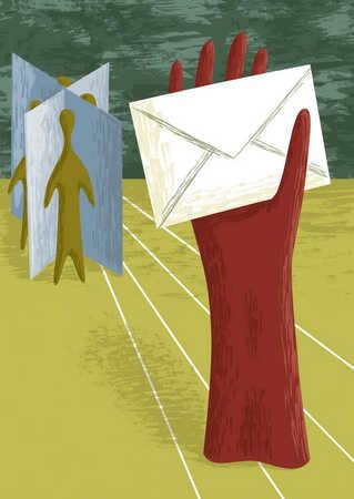 Red glove holding envelope
