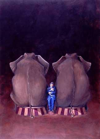 Two elephants sitting