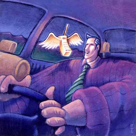 Man with flying car phone