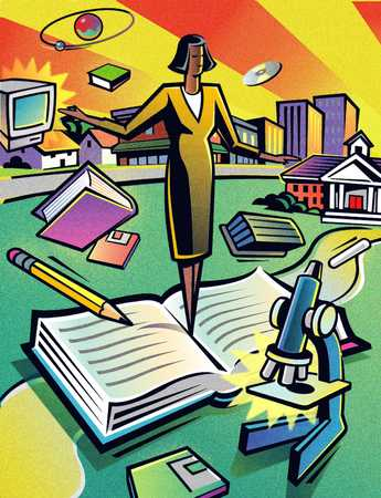 Businesswoman standing on open book