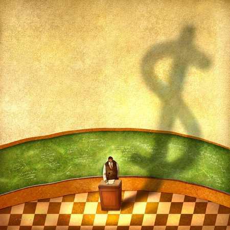 Man At Podium Casting Dollar Sign Shadow