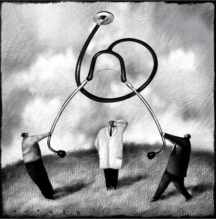 Men Holding Stethoscope Over Doctor