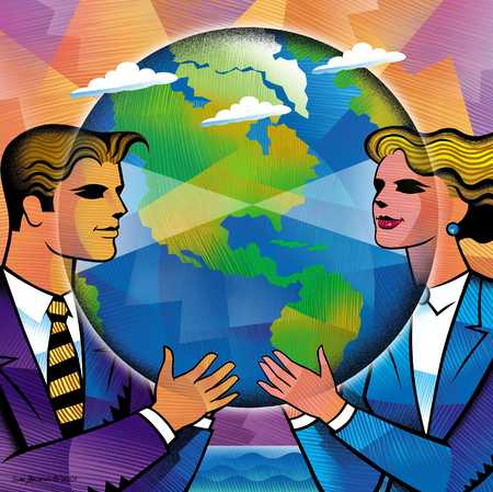 Businesspeople Holding Earth