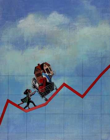 Couple Pushing Assets/ Economy