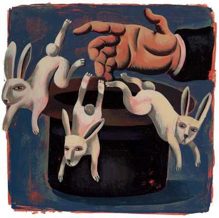 Three Rabbits Departing Magician's Hat
