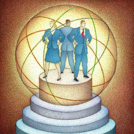 Businesspeople Standing Inside Of Sphere