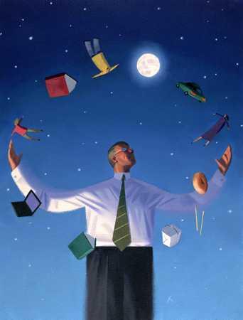Man Juggling In Moonlight