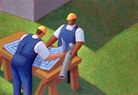 Workers With Blue Prints
