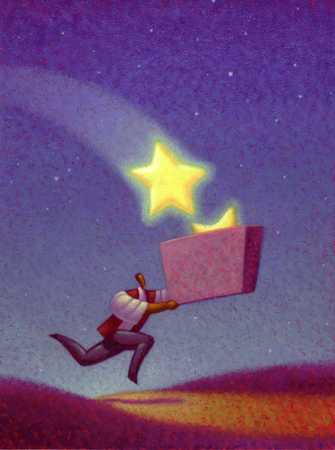 Businessman Catching Stars In Box