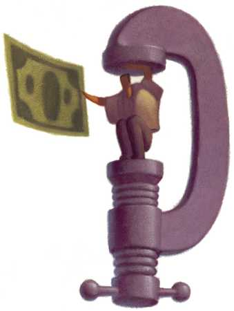 Man In Vice Holding Dollar
