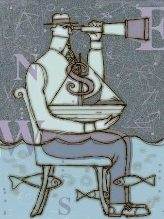 Man With Finances And Telescope
