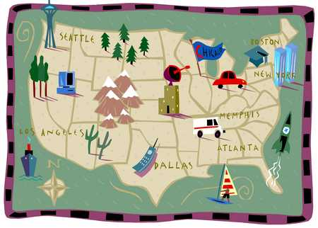 Stock Illustration Map Of America - Us map with landmarks