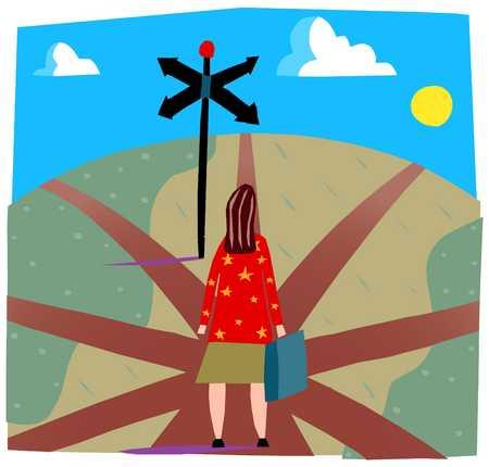 Woman at career crossroads