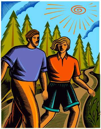 Man And Woman Hiking