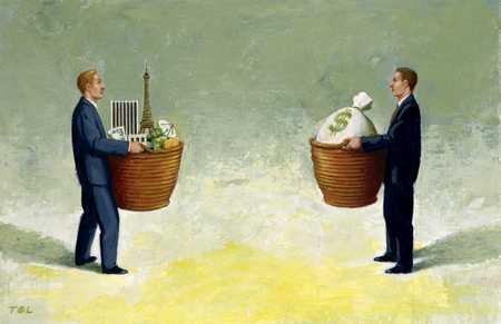 Men Holding Baskets/Opportunities
