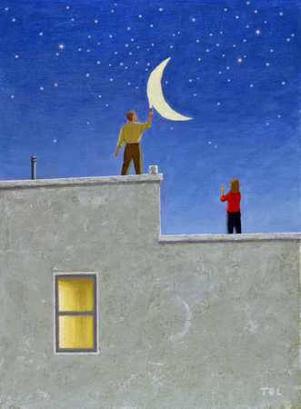 Man On Rooftop Painting Moon