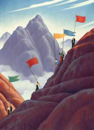 Mountain Climbers with Flags