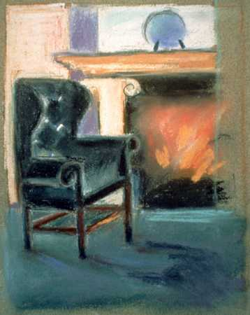 Chair By Fireplace