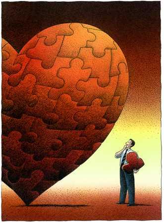 Man Constructing Heart-Shaped Puzzle