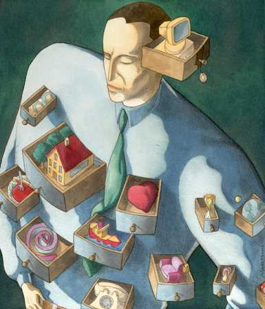 Man with open drawers, organization